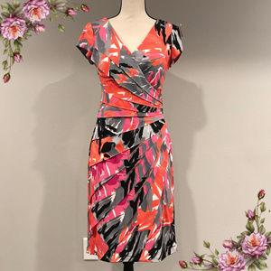 London Times Pink Pattern Faux Wrap Tiered Dress